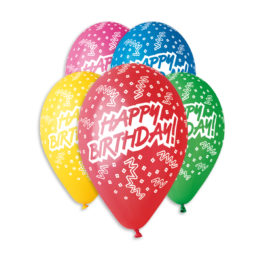 Happy Birthday Assorted Colors Balloons