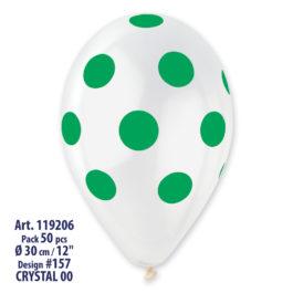 Clear Polka Dots Green  Printed