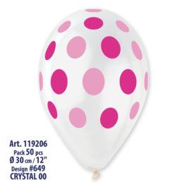Clear Polka Dots Pink/Fuchsia  Printed
