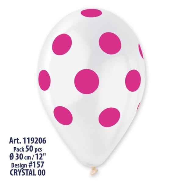GS110: #000 Crystal Clear/Fuchsia Polka Dot 923339