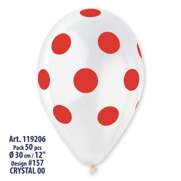 GS110: #000 Crystal Clear/Red Polka Dot 923322